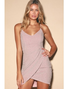 Forever Your Girl Metallic Blush Pink Bodycon Dress by Lulus