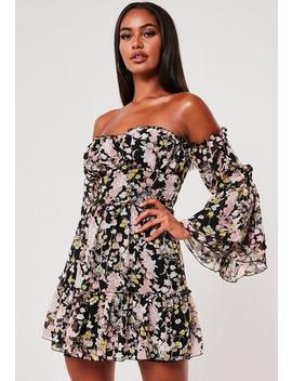 Black Milkmaid Bust Cup Floral Print Dress by Missguided