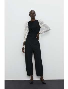 Sweater With Organza Sleeves Editorial The Minimal Knitwear Woman by Zara