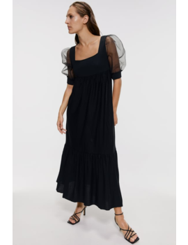 Knit Dress With Organza Sleeves Editorial The Minimal Knitwear Woman by Zara