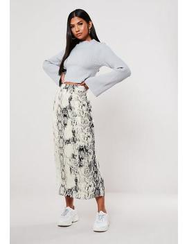 Grey Snake Print Satin Midi Skirt by Missguided