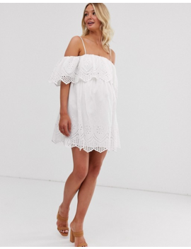Asos Design Maternity Premium Double Layer Off Shoulder Mini Dress In Broderie by Asos Design