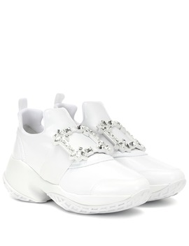 Viv' Run Leather Trimmed Sneakers by Roger Vivier