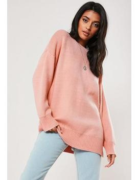 White Crew Neck Oversized Knitted Jumper by Missguided