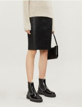 Megan Leather Midi Pencil Skirt by Reiss