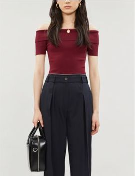 Matilda Bardot Stretch Woven Top by Reiss