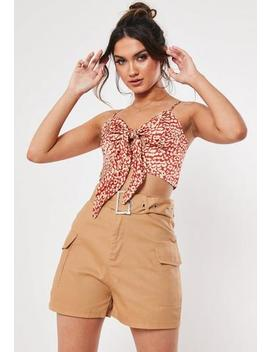 Petite Sand Cargo Shorts by Missguided