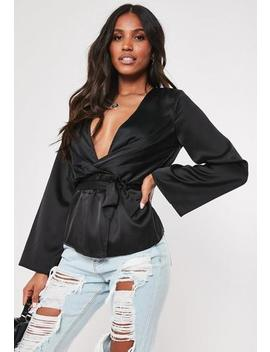 Petite Black Satin Plunge Blouse by Missguided