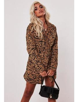 Petite Brown Leopard Print Blazer Dress by Missguided
