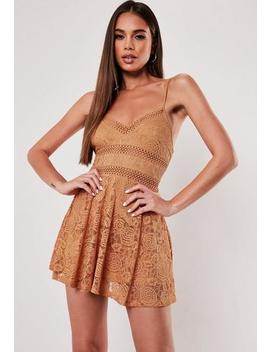 Petite Brown Lace Skater Dress by Missguided
