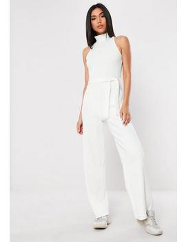 Petite Cream Ribbed High Neck Flared Leg Jumpsuit by Missguided