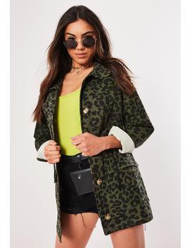 Petite Khaki Leopard Print Camo Parka Jacket by Missguided
