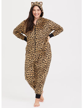 Leopard Print Fleece Sleep Onesie by Torrid