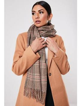 Brown Check Print Scarf by Missguided