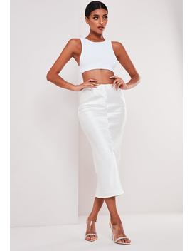 Sofia Richie X Missguided White Satin Button Down Midi Skirt by Missguided