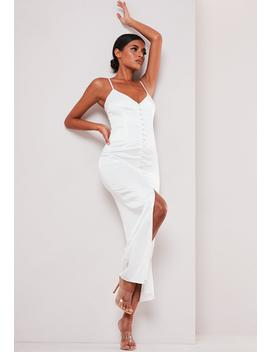Sofia Richie X Missguided White Satin Button Up Slip Dress by Missguided