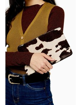 Perla Cow Zip Pouch by Topshop