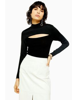 Idol Spliced Front Fine Knitted Top by Topshop