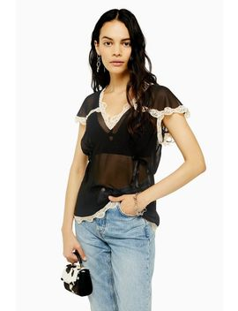 Black Delicate Lace Top by Topshop