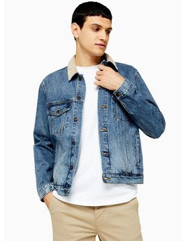 Mid Wash Corduroy Collar Jacket by Topman