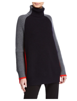 Oversized Turtleneck Colorblock Sweater by Victoria Victoria Beckham