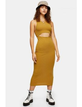 Mustard Cut Out Ribbed Midi Dress by Topshop