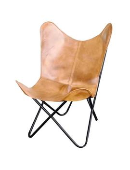 Light Tan Natural Leather Butterfly Chair by Ameri Home