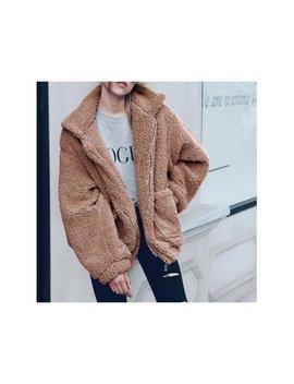 Fymall Plus Size Womens Loose Lapel Plush Coat Winter Warm Outwear by Fymall