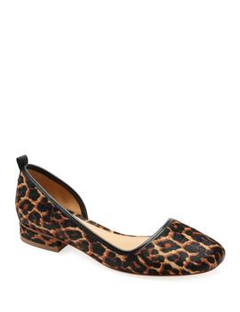 Lola Leopard Calf Hair Ballet Flats by Bill Blass