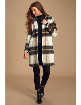 Cher Ivory Plaid Brushed Wool Coat by Cupcakes & Cashmere
