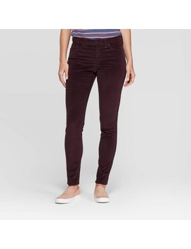 Women's Corduroy Mid Rise Skinny Jeans   Universal Thread Burgundy by Rise Skinny Jeans