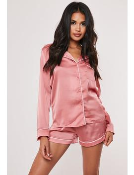 Pink Satin Contrast Piping Pyjama Shirt by Missguided