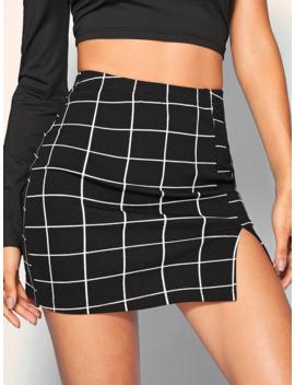 SheinSplit Front Grid Skirt by Sheinside