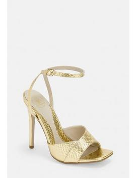 Gold Croc Texture Barely There Heels by Missguided