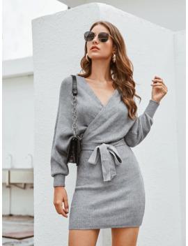 V Cut Back Surplice Belted Sweater Dress by Sheinside