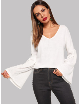 Bell Sleeve V Neck Sweater by Sheinside