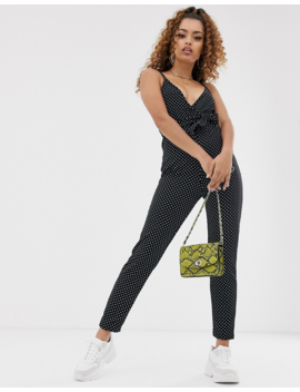 Pretty Little Thing Petite – Jumpsuit, Schwarz Mit Tupfen by Asos
