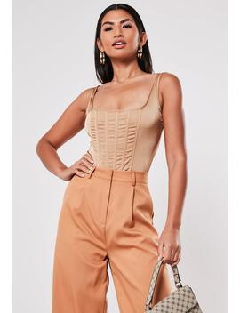 Champagne Satin Corset Bodysuit by Missguided