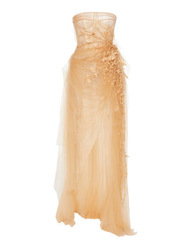 Draped Embroidered Tulle Gown by Oscar De La Renta