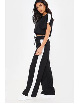 Black Cropped Ruched Tie Front Detail Loungewear Set by In The Style