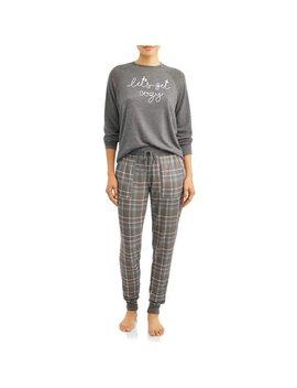 Secret Treasures Essentials Women's And Women's Plus Hacci Long Sleeve Pajama Top Cozy/Hacci Jogger Plaid by Secret Treasures