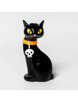 Cat Ceramic Halloween Candle Holder Black/ Orange   Hyde & Eek! Boutique by Hyde & Eek! Boutique