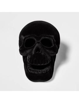 Black Resin Flocked Skull Halloween Decoration Small   Hyde & Eek! Boutique by Hyde & Eek! Boutique