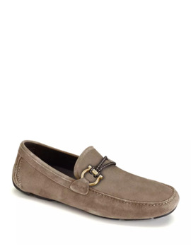 Men's Front 4 Suede Drivers With Braided Detail by Salvatore Ferragamo
