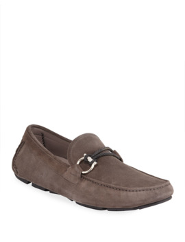 Men's Front 4 Suede Gancio Drivers With Braided Keeper by Salvatore Ferragamo
