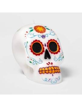 Día De Muertos Sugar Skull Unscented Candle by No Brand