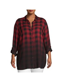 Women's Plus Size Ombre Plaid High Low Button Up Shirt by Como Blu