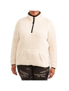 No Boundaries Juniors' Plus Size Quarter Zip Pullover Sherpa Sweatshirt by No Boundaries