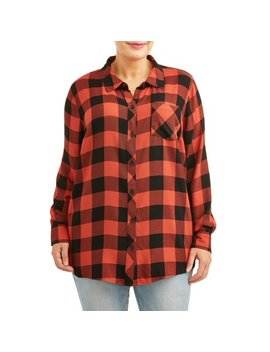 Women's Plus Size One Pocket Plaid Button Down Shirt by Terra & Sky