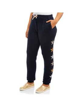 Sweet Romeo Women's Plus Size Super Soft Star Athleisure Joggers With Stars by Sweet Romeo